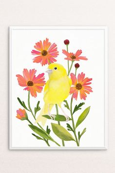 Bird Wall Art | Instant Download Print | Canary painting by PRINTSPIRING