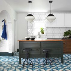 Our Cairo cement tile is stunning and one of our best sellers. Shop our unique cement tiles now at Zia Tile! Los Angeles based and shipping worldwide! Kitchen Tiles, Kitchen Flooring, Kitchen Colors, French Country Kitchens, Vintage Industrial Decor, Mediterranean Homes, Boys Room Decor, Wall And Floor Tiles, Traditional Kitchen