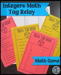 Integers Math Tag Relay - Engage your math students with an entertaining game that will get your students moving and working with integers. $ Gr 6-8