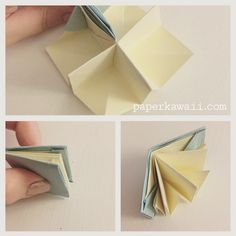 Origami Popup Book Video Tutorial Learn how to make an origami pop up book! This book opens up into 4 sections it could be a mini house with 4 rooms or a pretty landscape scene Paper Crafts Origami, Origami Art, Paper Crafting, Origami Bookmark, Origami Books, Fabric Origami, Origami Folding, Origami Dragon, Oragami