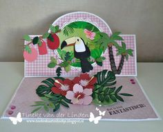 Tineke's kaartenhoekje: Het is hier fantastisch! Marianne Design Cards, Swing Card, Spinner Card, Pop Up, Easel Cards, Bird Cards, Love Cards, Tropical, Folded Cards