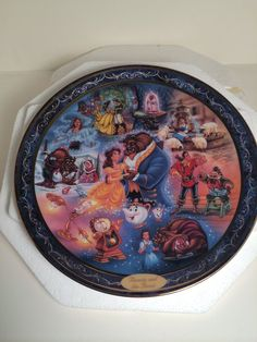 Disney's Beauty and the Beast Ever After. Plate by The Bradford Exchange Bradford Exchange Disney, Disney House, Wedding Plates, Disney Figurines, Disney Home Decor, Disney Beauty And The Beast, Plate Stands, My Spirit Animal, Heart For Kids