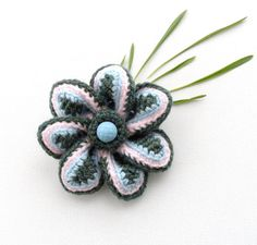 Crochet Flower Brooch  Corsage Brooch Pin by CraftsbySigita, $9.00