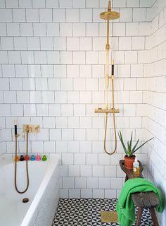 In Sweden, A Designer's Home Gushes Color and Pattern Design*Sponge Wet Rooms, Diy Bathroom, Shower Tile, House Bathroom, Bathroom Wallpaper, Design Sponge, Small Bathroom, Beautiful Bathrooms, Bathroom Inspiration