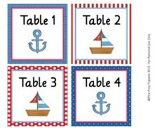 Nautical Classroom Decor Table Numbers $3
