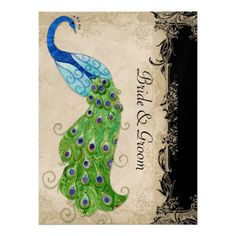 Art Deco Style Peacock Black n Cream Vintage Lace Personalized Invitations  Click on photo to purchase. Check out all current coupon offers and save! http://www.zazzle.com/coupons?rf=238785193994622463&tc=pin