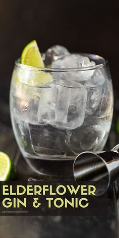 Add some summer flair to your conventional gin and tonic happy hour cocktail with this uber-refreshing Elderflower Gin and Tonic! #gin #cocktails #drinks #happyhour #ginandtonic Gin Martini Recipe, Batch Cocktail Recipe, Martini Recipes, Martinis, Best Gin Cocktails, Gin Cocktail Recipes, Fun Drinks, Yummy Drinks, Beverages