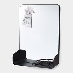 Magnetic Mirror Shelf lets you pin reminder notes and store all your necessities like keys or wallet. Multipurpose Furniture, Multifunctional Furniture, Modern Home Furniture, Mirror With Shelf, Magnetic Wall, Scandinavian Living, Modular Design, Home Decor Inspiration, Modern Decor