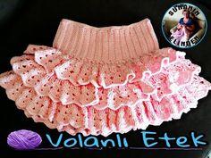 Punto daisy o punto flor (crochet/ganchillo) - Crochet Earwarmers Crochet Toddler, Baby Girl Crochet, Crochet For Kids, Free Crochet, Crochet Skirt Pattern, Crochet Skirts, Crochet Cord, Tunisian Crochet, Knitting Videos