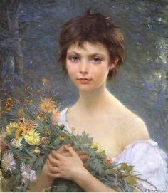 Alfred Guillou (1844 - 1926) Morning Bouquet Oil on canvas 21 3/4 x 18 1/4 inche