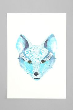 Ola Liola Blue Fox Art Print. I want my small space to be AWESOME. I entered the #UrbanOutfitters Pin A Room, Win A Room Sweepstakes!