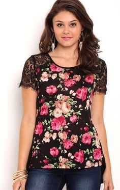 Deb Shops Short sleeve floral print rayon span lace sleeve tee with large keyhole back $19.00