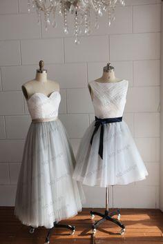 Strapless Ivory Lace Silver Grey Tulle Tea Length Short Wedding Dress/Bridesmaid Dress/Prom Dress