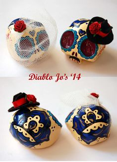 Custom Colours - Wedding Sugar Skull cake toppers in Blue, Purple, Red and Gold with Fedora Hat  www.etsy.com/uk/shop/diablojos
