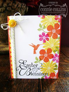 handmade Easter card ... luv the look of the solid stamped flowers where they overlap .. bright and beautiful ... Stampin' Up!