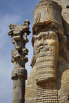 Persepolis - Iran. Founded c500 BC, Persopolis was the capital of the Achaemenian Empire. It was sacked by Alexander the Great in 330 BC, after which it declined and was abandoned. The ruined city survives on a vast platform with doorways, columns and flights of steps. Bas reliefs show trees and other plants.