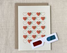 Valentine Card  3D Hearts by witandwhistle on Etsy, $5.00