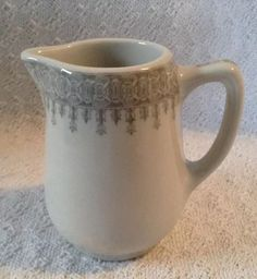 Shenango China Restaurant Ware Heavy White Gray  Creamer Milk Pitcher Jug #ShenangoChina