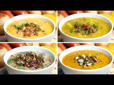Cremes de inverno de 4 jeitos - YouTube Cheeseburger Chowder, Soup, Tasty, Cooking, Ethnic Recipes, Portal, Creme, Youtube, Facebook
