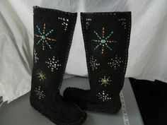 Black Suede Leather Moccasin Boots