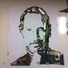 Steve Jobs made from iMac parts