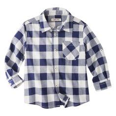 Cherokee Infant Toddler Boys' Plaid Button Down Shirt