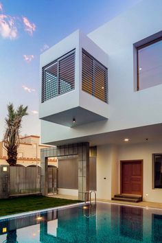 Vertical aluminium slats screen the exterior and windows of this house in Kuwait by Studio Toggle Houses Architecture, Architecture Student, Futuristic Architecture, Contemporary Architecture, Interior Architecture, Gaudi, Amazing Buildings, House Goals, My Dream Home