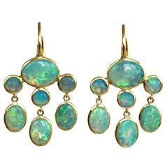 Dalben Australian Opal Yellow Gold Dangle Earrings | From a unique collection of vintage dangle earrings at https://www.1stdibs.com/jewelry/earrings/dangle-earrings/