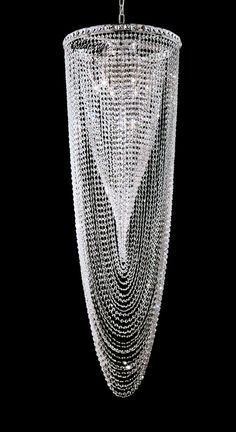 Spiral contemporary crystal chandelier with polished chrome finish