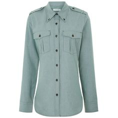Isabel Marant Étoile Green Cotton Military Wandy Shirt ($230) ❤ liked on Polyvore featuring tops, green, green oxford shirt, oxford shirt, collared shirt, military shirts and long sleeve cotton shirt