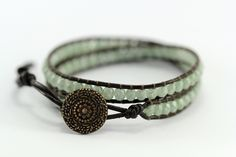 Stone Green Luster & Brown Leather Bohemian Wrap Bracelet..