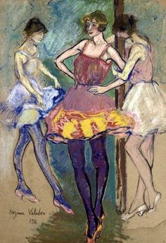 Suzanne Valadon - Three Dancers, 1916 Gouache, pastel and charcoal on thin card. Renoir, Toulouse, Maurice Utrillo, Kunst Online, Guache, Post Impressionism, French Artists, Oeuvre D'art, Figurative Art