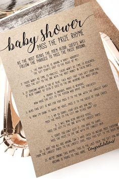 Pass the Prize Baby Shower Poem . Baby Shower Pass the Parcel Poem . Baby Shower Game Pass the Gift Poem – Baby Shower İdeas 2020 Baby Shower Poems, Fun Baby Shower Games, Boho Baby Shower, Baby Shower Parties, Baby Boy Shower, Bridal Shower, Baby Showers, Baby Shower Decorations, Shower Centerpieces