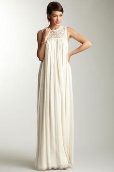 ADAM Floral Yoke Chiffon Maxi Dress