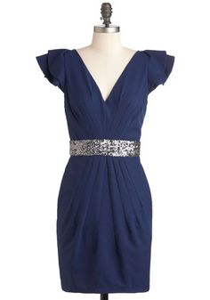Whatever You Fancy Dress - Mid-length, Blue, Silver, Solid, Sequins, Formal, Sheath / Shift, Cap Sleeves, Cocktail, Holiday Party, V Neck