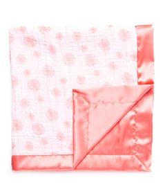 Loving this 30'' x 30'' Dandelion & Coral Satin Baby Blanket on #zulily! #zulilyfinds