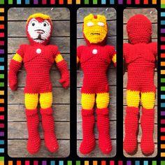 Crochet Ironman superhero.