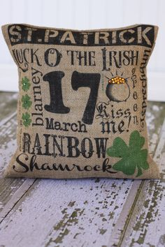 St Patrick's Day Subway Art Pillow cover by MonMellDesigns on Etsy, $24.00