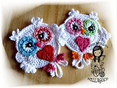 Crochet PATTERN, Applique Owl Be my Valentine, Application, Heart, DIY Pattern 29, Instant Download