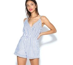 Overal so šortkami, s prúžkami a výstrihom do V | modino.sk #ModinoSK #modino_sk #modino_style #style #fashion #summer #overal Silhouette, Rompers, Dresses, Products, Fashion, Suspenders, Stripes, Cotton, Human Height