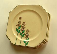 Art Deco Leigh Ware: Ultra Wildflower Dinner Plates - Set of 4   $60.00