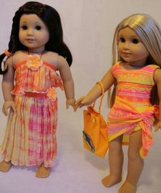 American girl dolls Jess 2006 and Julie! dress is absolutley lovely American Girl Outfits, American Girl Doll Costumes, My American Girl Doll, American Doll Clothes, Ag Doll Clothes, Doll Clothes Patterns, Ag Clothing, Journey Girls, Girl Dolls