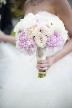 Pastel Peony #Bouquet | Wedding Featured in Style Me Pretty's Fashion & Beauty e*Mag | Photography: Justin & Mary - justinmarantz.com | See more here: http://www.stylemepretty.com/2013/11/18/classic-connecticut-wedding-from-justin-and-mary-marantz/
