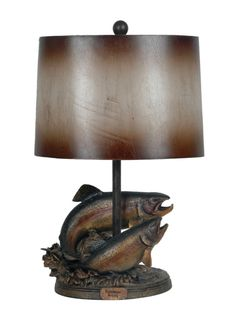 Rainbow Trout lamp, rustic for the cabin or lodge. Perfect gift for the fisherman, fly fishing lover.