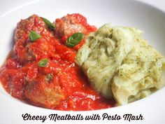 This is the ultimate comfort food. Delicious cheesy meatballs served up with a side of creamy pesto mash. Cheesy Meatballs, Crock Pot Meatballs, My Favorite Food, Favorite Recipes, Crockpot Recipes, Cooking Recipes, Creamy Pesto, Main Meals, Food To Make