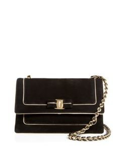 Salvatore Ferragamo Ginny Suede Gold Piped Crossbody | Bloomingdale's