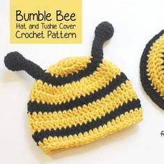 Repeat Crafter Me: Crocheted Bumble Bee Hat and Tussie Cover Free Pattern