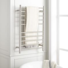 The Keegan Towel Warmer provides you with wonderfully soft and fluffy towels after the bath or shower. Featuring a hardwired design, this heated towel rack has seven rails for hanging towels and other garments to dry. Warm Bathroom, Small Bathroom, Bathroom Ideas, Basement Bathroom, Master Bathrooms, Dream Bathrooms, Washroom, Bathroom Vanities, Bath Ideas