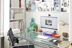 In a small space, it's hard enough to find room for a desk, let alone a big desk with drawers and tons of storage space. The good news is, you don't need a cabinet full of drawers attached to your desk to store all your things—just use the space you do have to your advantage. These tips and tricks can help you make the most of your desk, drawers not included.