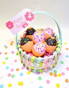 DIY Donut Easter Eggs & Free Printable Donut Egg Stands & Gift Tags! ⋆ Brite and Bubbly
